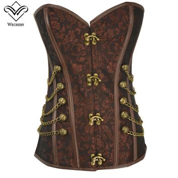 Wechery Corsage Steampunk Corset Sexy Corsets and Bustiers Slim Gothic Women Corselet Corset Steel Bone Plus Size Busiter S-6XL