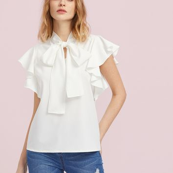 Bow Tie Front Flutter Sleeve Blouse