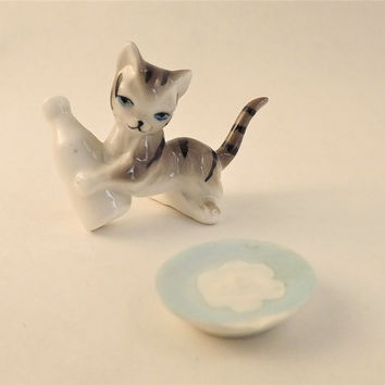 Glass Cat Figurine, Kitten and Milk Bottle, Cat & Cream Dish Bowl, Vintage Miniature Collectible Cat, Striped Tabby Cat, Porcelain Cat