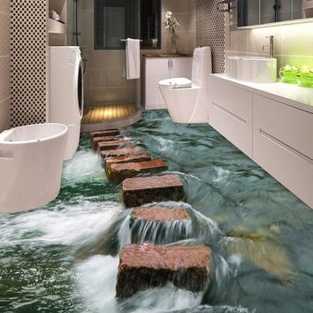 Custom 3D Floor Sticker Vinyl Mural Wallpaper For Walls 3 D River Stones Bathroom Floor Decor Paper PVC Self-adhesive Wallpaper