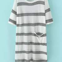 Black and White Round Neckline Striped Dress
