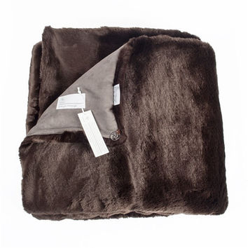 Dark Brown Grizzli Faux Fur Throw by Evelyne Prelonge