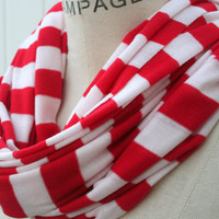 Summer Scarf Infinity Sweater Scarf Red White Stripes by PIYOYO