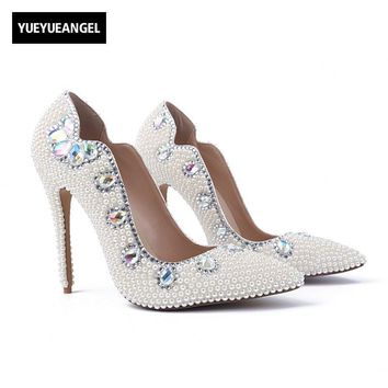 Fashion  High Heel  Pointed Toe Slip On Lady Crystal Pumps Bead Shoes