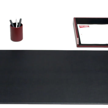 School Office Boardroom Meeting Table Top Accessories Burgundy Contemporary Leather 3 Piece Desk Organizer Set