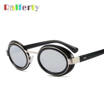 Ralferty Steampunk Sunglasses Men Women Small Oval Sun Glasses Frame Vintage Punk Mirror Eyewear Accessories Retro Oculos F8218