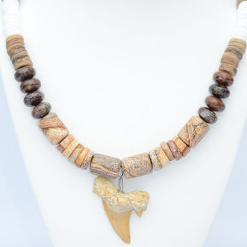 Shark Tooth Necklace.Brown Shark Tooth Necklace.Stone Necklace.Shark Teeth. Nautical Jewelry.Sportsman's Jewelry.Men's Necklace.Necklace.