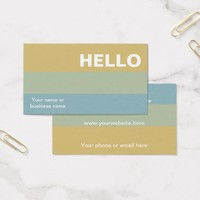 Hello Khaki Color Palette Minimal Classy Greeting Business Card
