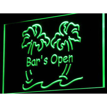 i814-g Bar is Open Palm Tree Pub Beer Decor Neon Light Sign On/Off Switch 7 Colors