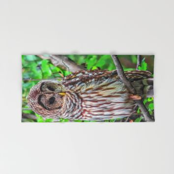 Barred Owl Hand & Bath Towel by Scott Hervieux | Society6