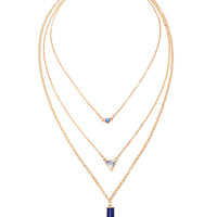 Golden Stone Drop Chain Multirow Necklace