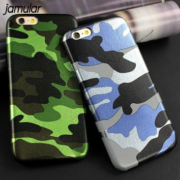 JAMULAR Army Camouflage Back Case For iphone 8 7 Plus 5s SE Cover Fundas Camo Leather Phone Case For iphone 6 6S 7 Plus Cases