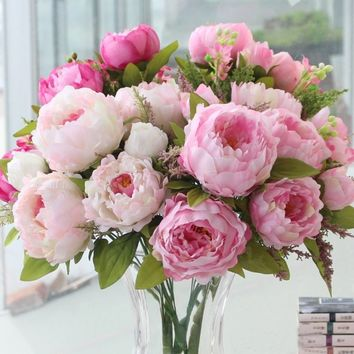 (7 Heads/bunch) New Silk Simulation Artificial Flower Peony Flower Bouquet Large Fake Rose Floral Home Decor