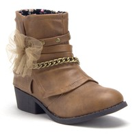 Little Kids' Girls Ankle High Booties Zipped Fashion Western Cowboy Boots
