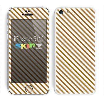 The Brown & White Striped Pattern Skin for the Apple iPhone 5c