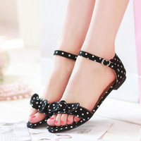 Bowtie Polka Dot shoes Big Size34-43 Flat shoes Women Scandals Summer shoes with Buckle Black Blue Red