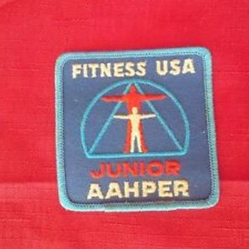 Vintage Applique Fitness USA Junior AAHPER Patch Embroidered  Iron On