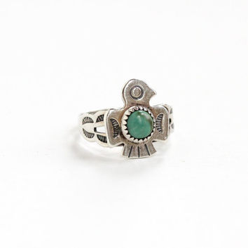 Vintage Sterling Silver Turquoise Eagle Ring - Size 3 1/2 Retro Hallmarked Bell Trading Co Southwestern Native American Style Bird Jewelry