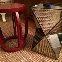 West Elm Faceted Mirrored Side Table and Red Bunga