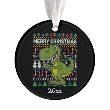 Dino Green Ugly Christmas Sweater Wildlife Series Ornament