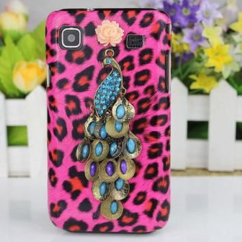 Leopard Hard Case Cover With Beautiful peacock For i9000 Case Samsung i9000 Galaxy S I S1