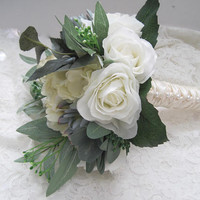 Bridal Bouquet Off White Roses Hydrangea and Sedum French Knotted with Pearls Down Front of Handle...Ready to Ship Bouquets Bridal Wedding