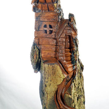 Whimsical House Wood Carving, Unique OOAK Wood Sculpture Gift, Handmade Woodworking, Hand Carved Artist Sculpture in Ohio, by Josh Carte