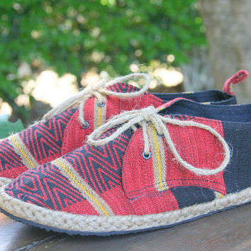 Vegan Mens Shoes, Lace Up Tan, Red and Black Oxfords In Tribal Naga Textiles  - Matt