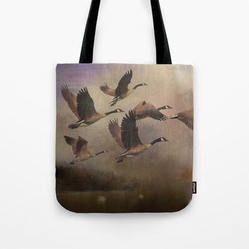 Wild Geese at Dawn Tote Bag by Theresa Campbell D'August Art