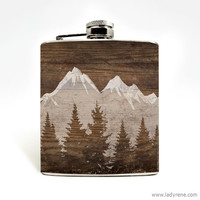 Mountain Landscape Whiskey Flask Nature Hiking Camping Outdoors Climbing Adventure Wanderlust Stainless Steel