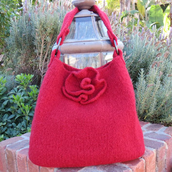 Red Rose, Felted Purse Pattern, Knit Bag Pattern, Felted Purse, Knitted Purse, Knitting Pattern, Instant Download, PDF