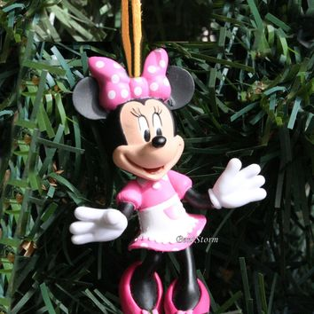 Licensed cool Disney Mickey Mouse Clubhouse Minnie White Apron Christmas Ornament PVC Figure