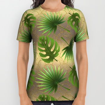 Tropical Leaves Gold Great Gatsby All Over Print Shirt by art4sharing