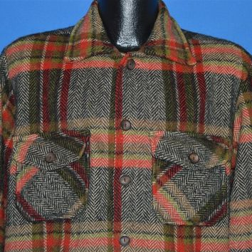 60s Plaid Heavy Wool Winter Coat Large