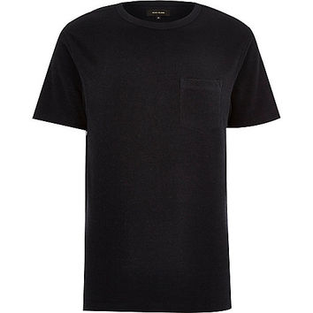 River Island MensNavy towelling stepped hem t-shirt