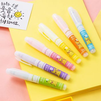 Deli 6pcs Highlighter  Invisible Ink Marker Pen Fluorescent Color Art Mildliner School Chancery Stationery Office SupplyKawaii Pokemon go  AT_89_9