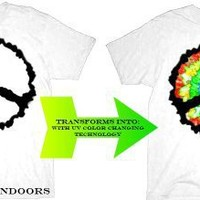 UV Solar Gradient Color Transforming Peace Sign White Adult T-shirt Tee