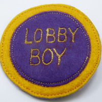 Grand Budapest Hotel inspired Lobby Boy felt patch or pin back badge