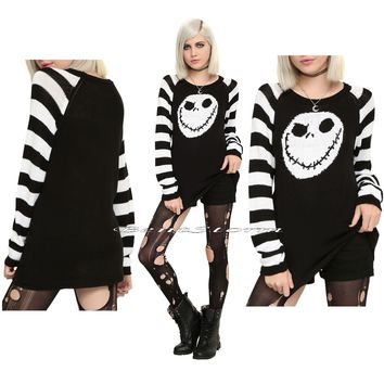Licensed cool Jack Skellington Disney The Nightmare Before Christmas Knit striped JR. Sweater