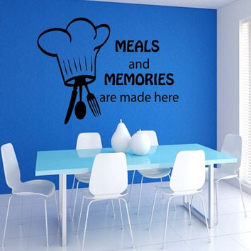 Words Chef Spoon Folk Knife Cafe Kitchen Wall Decals Decal Vinyl Sticker Wall Decor Home Interior Design Art Mural M1011