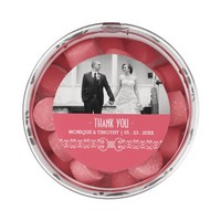 Ornate White Belt - Pink Blush Wedding Thank You Chewing Gum Favors