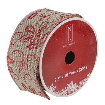 """Holly Red and Beige Burlap Wired Christmas Craft Ribbon 2.5"""" x 10 Yards"""
