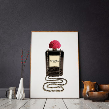 Chanel Mademoiselle perfume Bottle print Coco chanel bottle coco chanel print chanel perfume Chanel Paris Fashion printable wall art