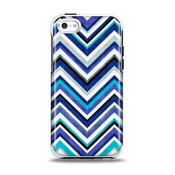 The Vibrant Blue Sharp Chevron Apple iPhone 5c Otterbox Symmetry Case Skin Set
