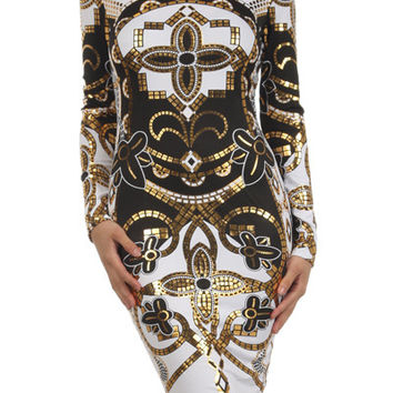 Egyptian Lover Bodycon Dress (White)