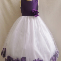 Flower Girl Rose Petal Solid Dress Purple with  for Easter Wedding Bridesmaid