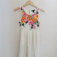 Women's Forever 21 White Floral Summer Sun Dress Size 4 Small Medium
