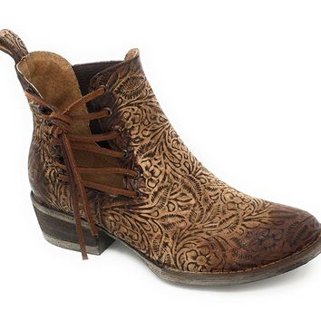 Circle G by Corral Women's Engraved & Laces Round Toe Shortie Boots Q5004