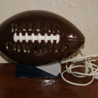 Collectible Ceramic DALLAS COWBOYS Brown Football Shaped Lamp With Silver And Blue Base Unmarked