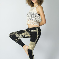 Patch Dye Tie Dye Cotton Legging in Black/White